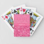Glitzy Pink Zebra Bicycle Poker Cards