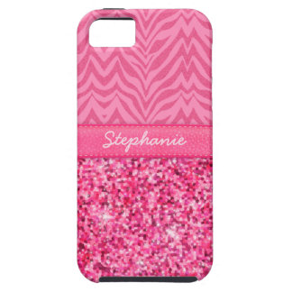 Glitzy Pink Zebra iPhone 5 Covers