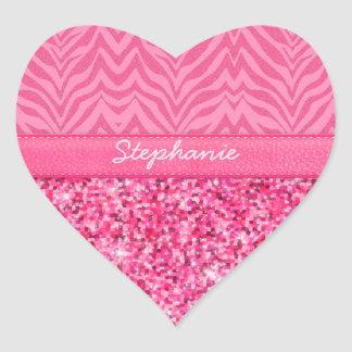 Glitzy Pink Zebra Heart Sticker