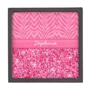 Glitzy Pink Zebra Keepsake Box