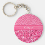 Glitzy Pink Zebra Keychain