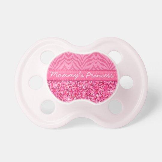 Glitzy Pink Zebra Pacifier