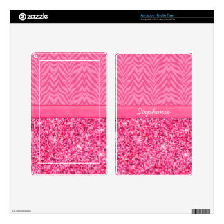 Glitzy Pink Zebra Skins For Kindle Fire