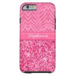Glitzy Pink Zebra Tough iPhone 6 Case