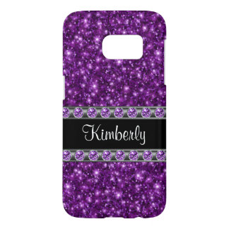 Glitzy Purple Faux Rhinestone Monogram Samsung Galaxy S7 Case
