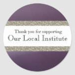 Glitzy Purple Metallic Personalized Seal Round Sticker