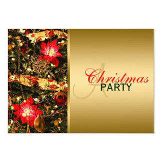 Glitzy Red, Green, Gold Chritsmas Party Invitation