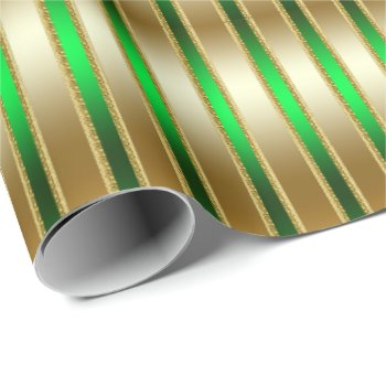 Glitzy Shiny Gold and Green Stripes Wrapping Paper