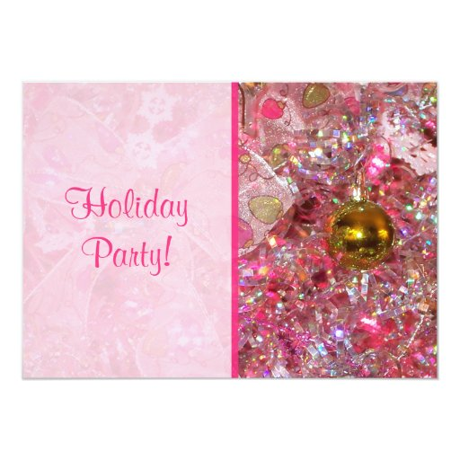 Glitzy Silver and Pink Holiday Party Invitation