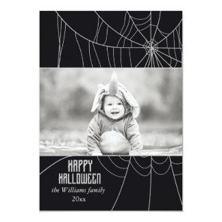 Glitzy Silver Spider Web   Halloween Photo Cards
