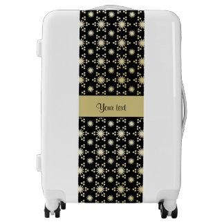Glitzy Sparkly Faux Gold Stars Luggage