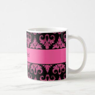 Glitzy Sparkly Hot Pink Glitter Damask Coffee Mug