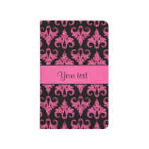 Glitzy Sparkly Hot Pink Glitter Damask Journal