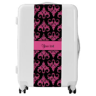 Glitzy Sparkly Hot Pink Glitter Damask Luggage