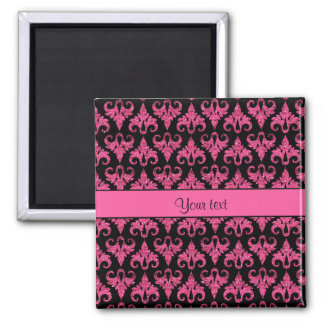 Glitzy Sparkly Hot Pink Glitter Damask Magnet