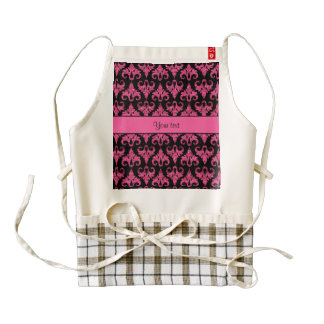 Glitzy Sparkly Hot Pink Glitter Damask Zazzle HEART Apron