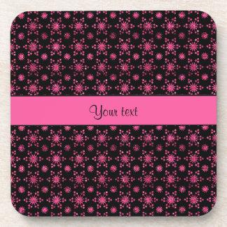 Glitzy Sparkly Hot Pink Glitter Stars Beverage Coaster