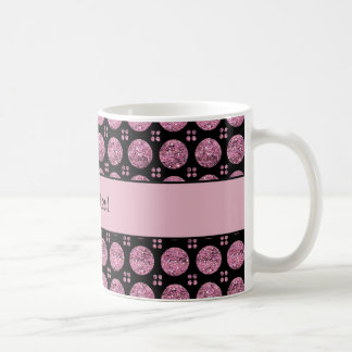 Glitzy Sparkly Pink Glitter Buttons Coffee Mug