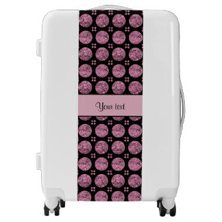 Glitzy Sparkly Pink Glitter Buttons Luggage