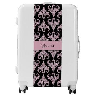 Glitzy Sparkly Pink Glitter Damask Luggage