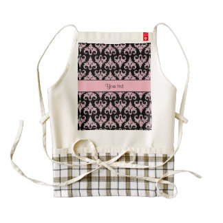 Glitzy Sparkly Pink Glitter Damask Zazzle HEART Apron