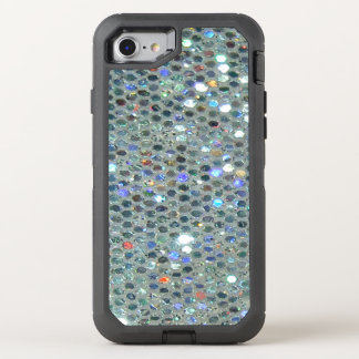 Glitzy Sparkly Silver Bling Glitter OtterBox Defender iPhone 8/7 Case