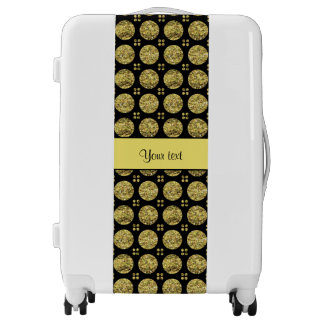 Glitzy Sparkly Yellow Glitter Buttons Luggage