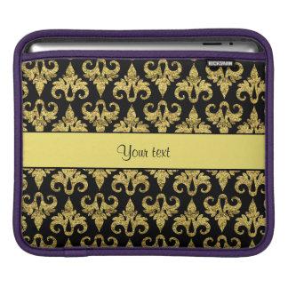 Glitzy Sparkly Yellow Glitter Damask iPad Sleeve