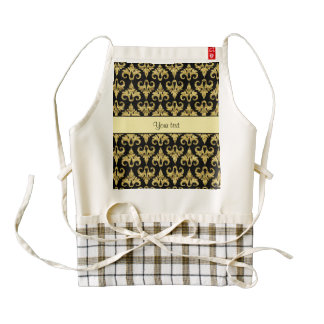 Glitzy Sparkly Yellow Glitter Damask Zazzle HEART Apron