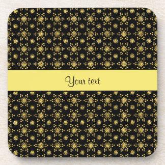 Glitzy Sparkly Yellow Glitter Stars Coaster