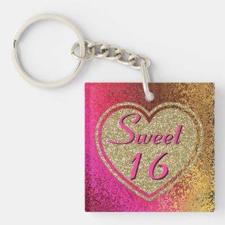 Glitzy Sweet 16 Pink & Gold Custom Acrylic Keychains