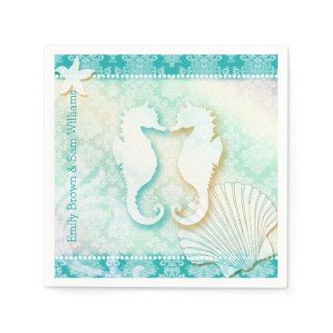 Beach Themed Glitzy Teal Damask Beach Wedding Paper Napkins