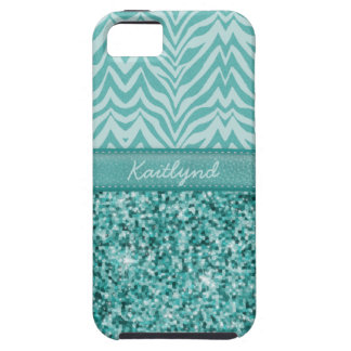 Glitzy Teal Zebra iPhone 5 Cases