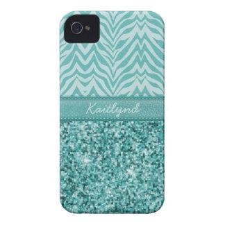 Glitzy Teal Zebra Case-Mate iPhone 4 Case