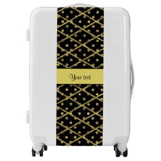 Glitzy Yellow Glitter Polka Dots & Diamonds Luggage