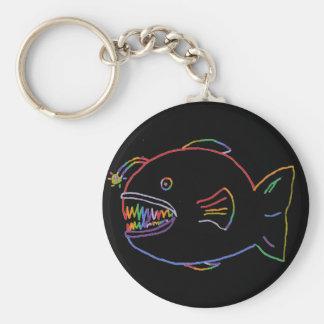 Glo-Fish Basic Round Button Keychain