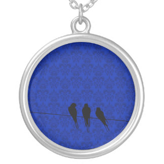 Gloaming Blackbirds Silhouette on Wire on Damask Round Pendant Necklace