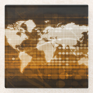 Global Access of Service and Technology Solutions Glass Coaster