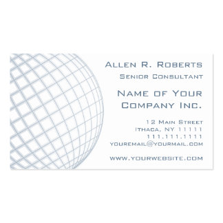 Global Business Consultant Blue Gray Globe Business Cards