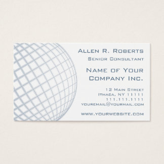 Global Business Consultant Blue Gray Globe Business Card
