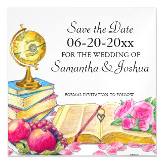 Global Chic Wedding Save the Date Magnetic Card