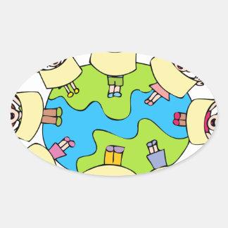 Global Children Choir Cartoon Oval Sticker