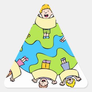 Global Children Choir Cartoon Triangle Sticker