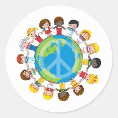 Global Children Classic Round Sticker at Zazzle
