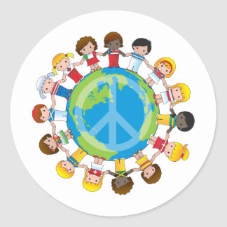 Global Children Classic Round Sticker