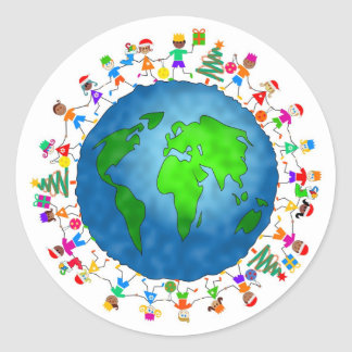 Global Christmas Kids Round Stickers