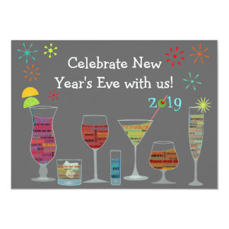 """Global Cocktails New Year's Eve Invitation 4.5"""" X 6.25"""" Invitation Card"""