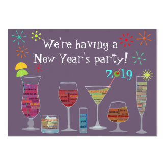 """Global Cocktails New Year's Eve Party Invitation 4.5"""" X 6.25"""" Invitation Card"""