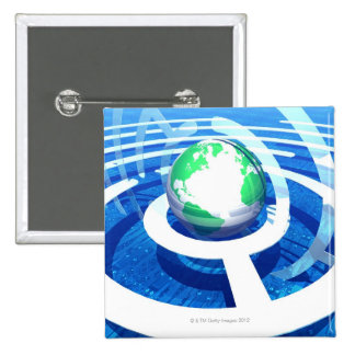 Global communication, conceptual computer 2 pinback button
