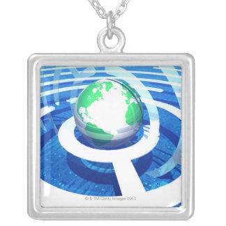 Global communication, conceptual computer 2 square pendant necklace